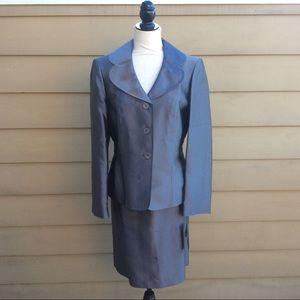 Anne Klein 2-Piece Suit Gray Skirt Jacket Silk